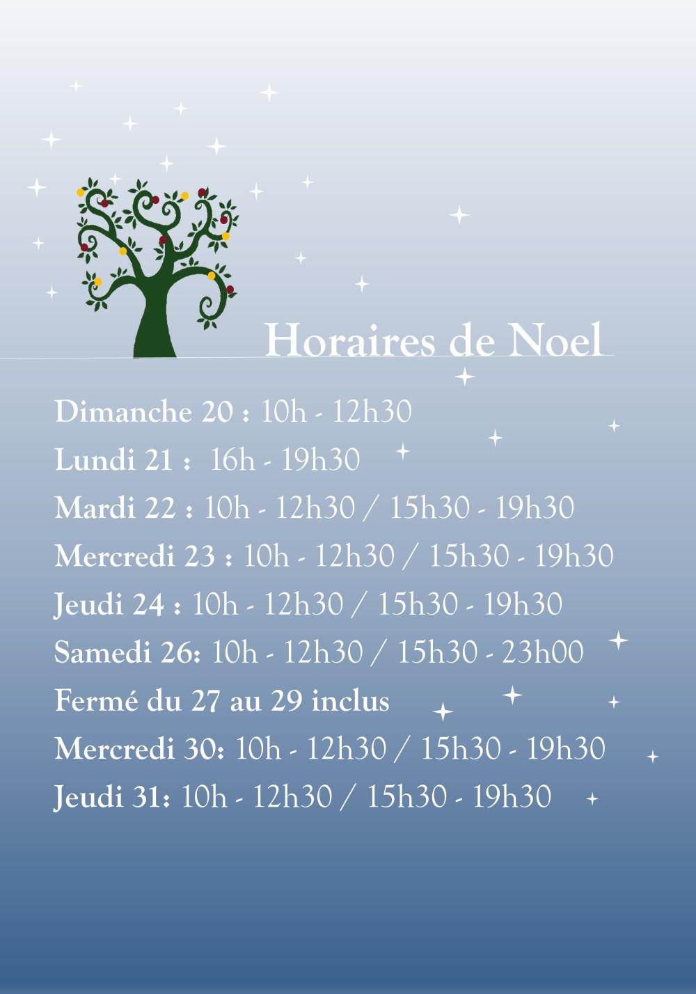 horaires de noel