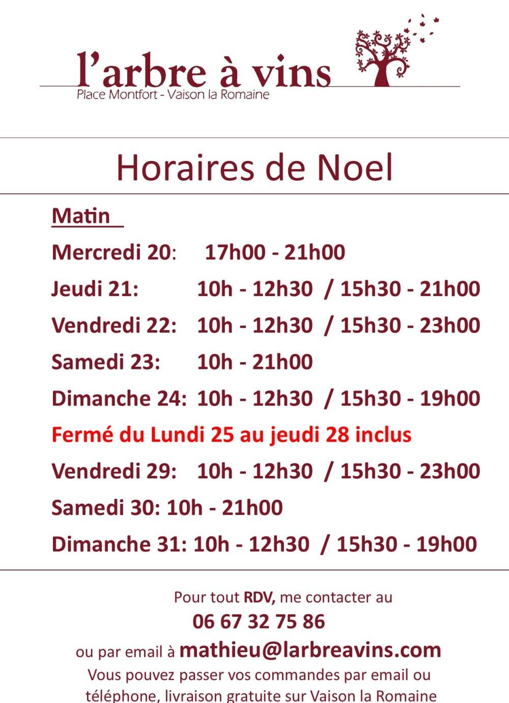 horaires noel